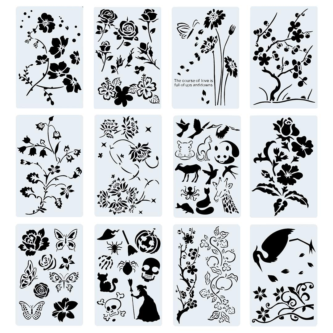 Poproo Painting Stencils Set Drawing Templates for Kids/Adults - for Bullet Journal, Planner, Scrapbook and DIY Craft (12 Pack, 10.2x6.7 inch)
