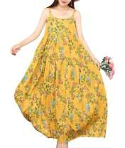 YESNO Women Casual Long Maxi Summer Beach Swing Dresses Empire Waist Sexy Tiered Bohemian Spaghetti Dress XS-5X E100