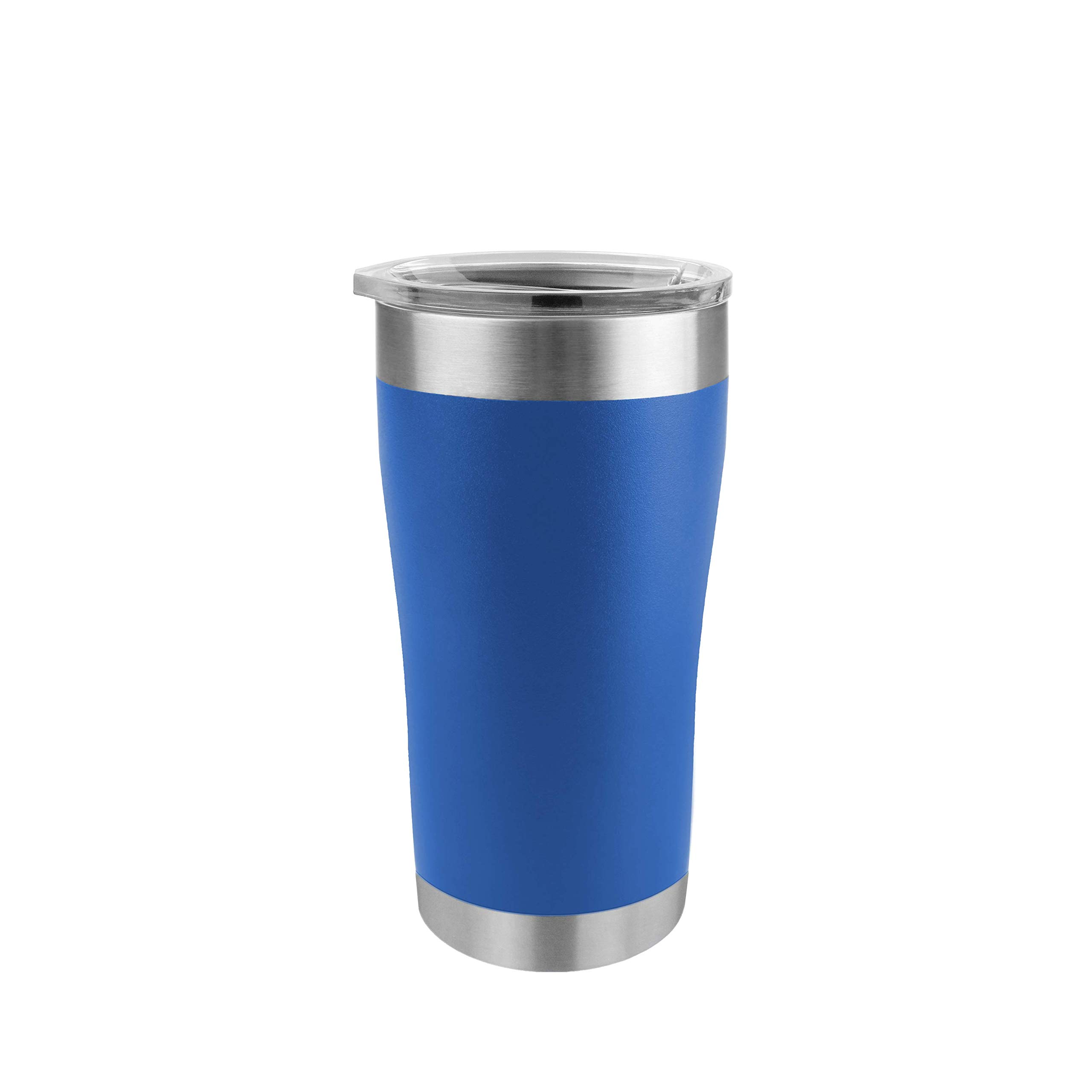 Tempercraft 20 oz Vacuum Insulated Tumbler w/Lid and Laser Engraved Customization Options - Stainless Steel, Double-Walled Travel Mug (Blue)