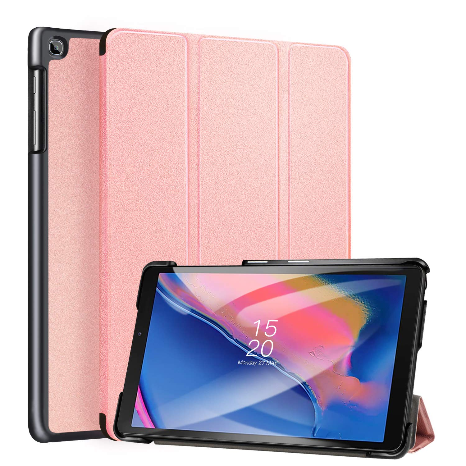 Ztotop Case for Samsung Galaxy Tab A 8.0 2019, Ultra Slim Lightweight Trifold Stand Cover Case for Samsung Tab A with S Pen 8.0 Inch Tablet SM-P200/SM-P205 2019 Release - Rosegold