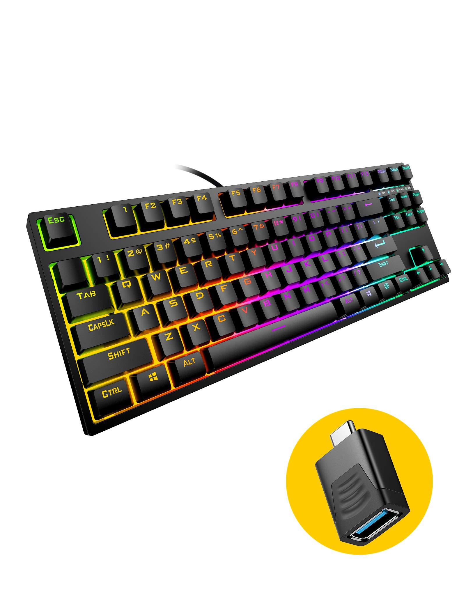 Mechanical RGB Gaming Keyboard,Hiwings Hi100 87 KeysUSB Wired Gamer Keyboard, 18 RGB LED Rainbow Backlight, with Windows, Linux &Mac (Black, Extra OTG)