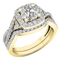 Dazzlingrock Collection 2.55 Carat (Ctw) 10K Gold Round Cut Cubic Zirconia Ladies Halo Engagement Ring Set 2 1/2 CT