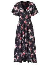 GloryStar Women's Floral Print Boho Chiffon Maxi Wrap Split Flowy High Low Beach Party Dress