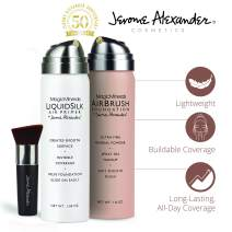MagicMinerals AirBrush Foundation Set by Jerome Alexander (MEDIUM DARK) – 3pc Set Includes Primer, Foundation and Kabuki Brush - Spray Makeup with Anti-aging Ingredients for Smooth Radiant Skin
