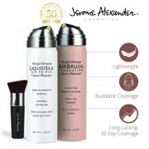 MagicMinerals AirBrush Foundation Set by Jerome Alexander (LIGHT) – 3pc Set Includes Primer, Foundation and Kabuki Brush - Spray Makeup with Anti-aging Ingredients for Smooth Radiant Skin