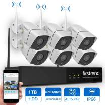 Security Camera System Wireless, Firstrend 8CH 960P Wireless Security Camera System with 6pcs HD Security Camera and 1TB Hard Drive Pre-Installed