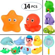 Geyiie Baby Bath Toys, 14pcs Fun Baby Bathtub Toy with Fishing Net,Swimming Pool Fishing Toys for Toddlers Boys & Girls and Kids' Gifts for Easter