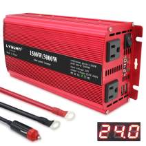 Yinleader Power Inverter 1500W/3000W(Peak) DC 24V to 110V AC Dual AC Outlets and Dual 3.1A USB Ports for RV Caravan Truck Laptop Camping (24v)
