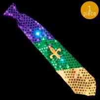 Lumistick 16 Inch Light-Up Mardi Gras Necktie - Ultra Bright Glowing LED Neckwear - Flashing Fleur de Lis Pattern Tie - Multicolor Vibrant Flashlights Tie (1 Tie)