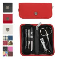 3 Swords Germany - brand quality 5 piece manicure pedicure grooming kit set for professional finger & toe nail care scissors clipper genuine leather case in gift box, Made in Solingen Germany (12405)