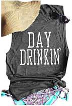 Bealatt Day Drinkin' Casual Tank Tops Funny Letters Print Vest T-Shirt, Cute Drinking Shirt Tank for Women