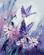 LIUDAO DIY Oil Painting for Adult Paint by Number Kits with Brushes and Acrylic Pigment 16x20 Inch Without Frame (Purple Butterfly Flower)