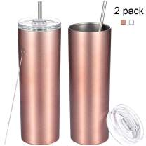 2 Pack Stainless Steel Skinny Tumbler, Double-Insulated Water Tumbler Cup With Lid and Straw, Outdoor Unbreakable Travel Slim Bottle for Hot Cold Drinks with Cleaning Brush (Rose Gold, 20 OZ)