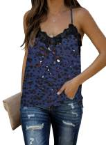 CANIKAT Women Fashion Print V Neck Lace Strappy Cami Tank Tops Loose Casual Sleeveless Shirts Blouses