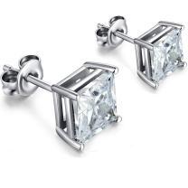 Princess Cut Sterling Silver Square Cubic Zirconia Stud Earrings