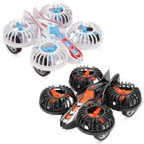 WOCY Inertia Friction Powered Push and Go Car 4 axis Airplane Toy Play Set for Kids Toddlers Boys Girls (Black + White)