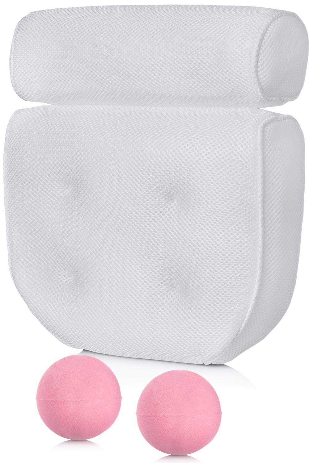 Bath Pillow for Tub with 2 Bath Bombs – Bathtub Head, Neck and Back Support – Great for Hot Tub, Spa and Jacuzzi Accessories with 4 Extra Large Suction Cups for Grip by Dr. Maya