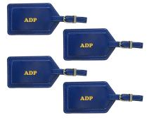 Personalized Monogrammed Cobalt Blue Leather Luggage Tags - 4 Pack