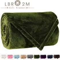 LBRO2M Fleece Bed Blanket Super Soft Warm Fuzzy Velvet Plush Throw Lightweight Cozy Couch Blankets (Throw(60x44 Inch), Green)