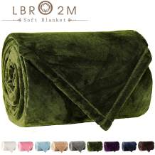 LBRO2M Fleece Bed Blanket Super Soft Warm Fuzzy Velvet Plush Throw Lightweight Cozy Couch Blankets (Throw(60x44 Inch), Green)