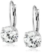 Jewelili 10K Gold Swarovski Zirconia Round Lever Back Earrings (3 cttw)