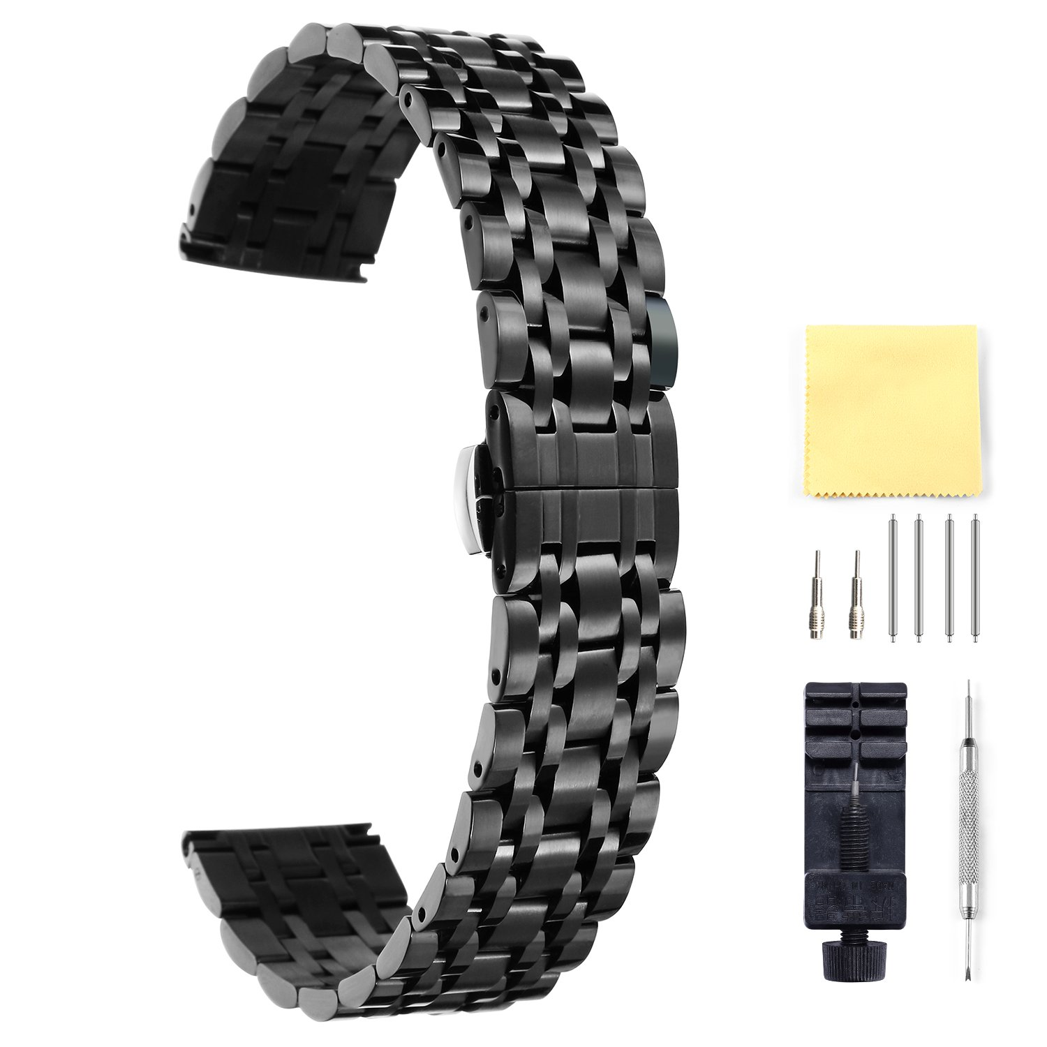 BINLUN Stainless Steel Watch Band 6 Color(Gold, Silver, Black, Rose Gold, Gold Tone, Rose Gold Tone) 17 Size (10mm - 26mm)