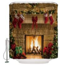 Merry Christmas Shower Curtain, Happy New Year Xmas Eve Fireplace Gifts Brick Stockings Art Print Bathrhroom Bath Curtain, Waterproof Polyester Fabric Shower Curtain with Hooks, 48 x 72 inches