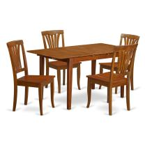 5 Pc dinette set for small spaces with Leaf and 4 Kitchen Dining Chairs