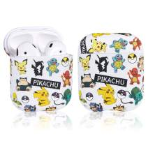 Coralogo for Airpods 1/2 Cute Case, Cartoon Anime Fashion Stylish Hard PC Airpod Skin Funny Fun Cool Keychain Design Accessories Shockproof Cover Air pods Cases for Kids Teens Girls Boys (Pika Family)