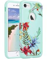 ULAK iPhone 8 & 7 Case, Slim Fit [ Dual Layer Series ] Soft Silicone & Hard Back Cover Bumper Protective Shock-Absorption& Skid-Proof Anti-Scratch Cover (Mint+Tropical Flower)
