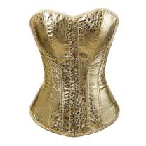 Grebrafan Steampunk Faux Leather Corset with Skirts