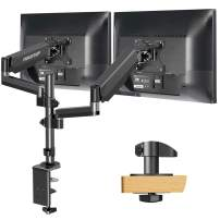 MOUNTUP Dual Monitor Mount, Height Adjustable Gas Spring Monitor Arm Desk Mount for 2 Computer Screens up to 32 Inch, Double Monitor Stand Each Arm Holds 2.2-17.6 lbs, Fits VESA 75x75mm & 100x100mm