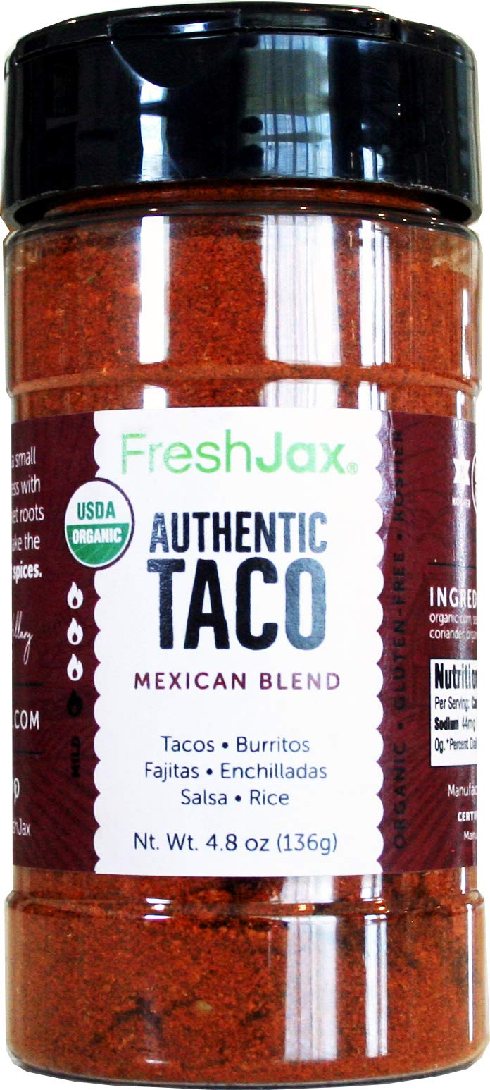 FreshJax Premium Gourmet Spices and Seasonings, (Organic Taco Seasoning: Mexican Blend) Large 4.8 oz