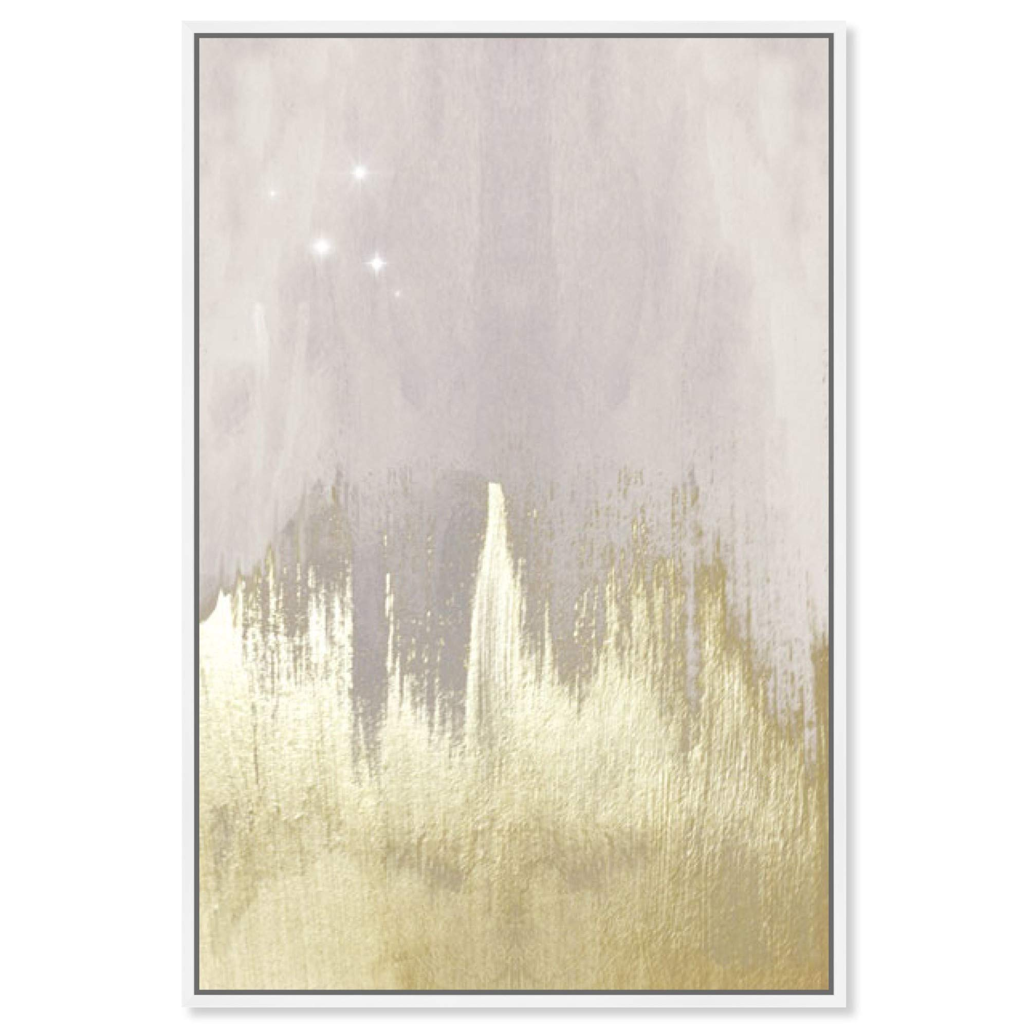 """The Oliver Gal Artist Co. Abstract Framed Wall Art Canvas Prints 'Offwhite Starry Night' Paint Home Décor, 20"""" x 30"""", Gold, Gray"""