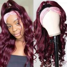 Nadula 99J Headband Wigs Body Wave Human Hair for Black Women, 10A Brazilian Virgin 1B/99J Ombre Colored Headband Wig Gluess None Lace Front Human Hair Wig 150% Density (14inch)