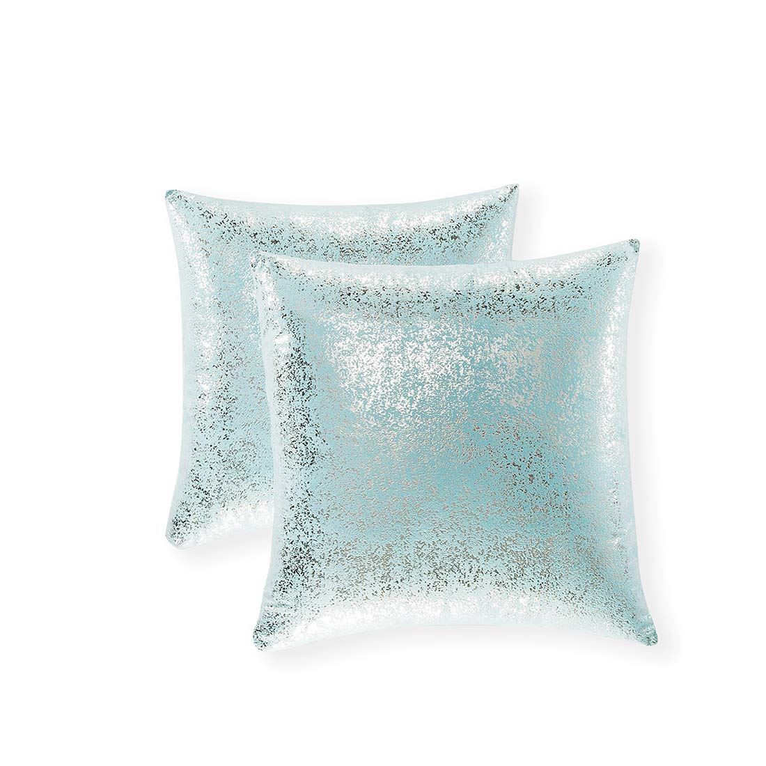 Xinrjojo Pack of 2, Shiny Cushion, Decorative Pillow Covers, Soft Square Throw Pillow Covers, Solid Color Cushion Covers, Pillow Cases for Sofa Bedroom Car 20 x 20 Inch 50 x 50 cm (Silver- Lake Blue)