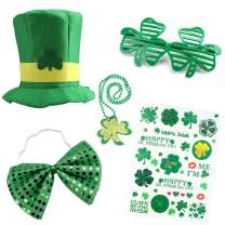 Canitor St. Patrick's Day Accessories Set 5PCS St. Patrick's Day Party Favors Parade Costume, with Sequin Bow, Shamrock Hat, Beads Necklace, Shamrock Eyeglasses, Tattoos Stickers for Kids and Adults