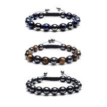 Jovivi Natural Tiger Eye Magnetic Hematite Healing Energy Beads Stretch Bracelets for Men Women Adjustable Macrame