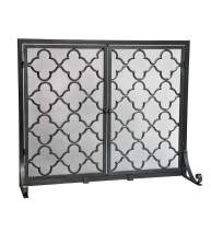 Large Steel Geometric Fireplace Screen with Doors, Durable Frame and Metal Mesh, 44 W x 33 H Pewter