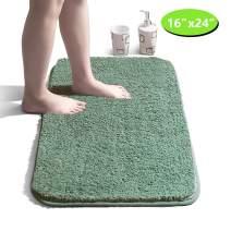 "Bathroom Rug Non Slip Bath Mat for Bathroom Water Absorbent Soft Microfiber Shaggy Bathroom Mat Machine Washable Bath Rug for Bathroom Thick Plush Rugs for Shower - Green, 16""x24"""