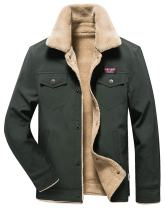 HOW'ON Men's Casual Sherpa Fleece Lined Jacket Warm Coat with Fur Collar