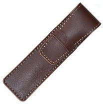 DiLoro Full Grain Top Quality Thick Buffalo Leather Single Pen Case Holder - Reddish Brown