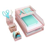 Blu Monaco Office Supplies Pink Desk Accessories for Women-6 Piece Interlocking Desk Organizer Set- Pen Cup, 3 Assorted Accessory Trays, 2 Letter Trays-Pink Room Decor for Women and Teen Girls