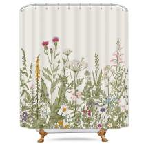 Riyidecor Herbs Flower Shower Curtain Wild Floral Leaf 60x72 Inch Vintage Nature Plant Rustic Fragrant Grass Botanical Blossom Decor Fabric Bathroom Set Polyester Waterproof 12 Pack Plastic Hooks