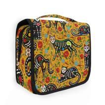 CaTaKu Sugar Skull Cat Cosmetic Bag Toiletry Bag Multifunction Bag Cosmetic Portable Makeup Waterproof Travel Hanging Organizer Bag for Men & Women