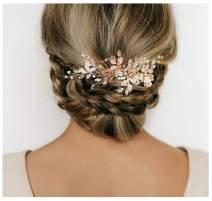 SWEETV Wedding Hair Comb Rhinestone Bridal Hair Clip-Handmade Wedding Hair Accessories for Brides and Bridesmaid,Rose Gold