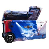 WYLD 75 Quart Dual Compartment Cooler with Wheels (Red, White & Blue) & Tap Kit! Aerator Port Kit & Rod Holder Available for Camping Fishing Boating & Tailgating