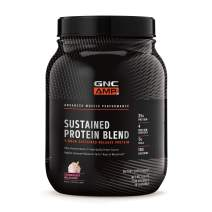 GNC AMP Sustained Protein Blend - Strawberry Milkshake, 28 Servings, High-Quality Protein Powder for Muscle Fuel*