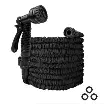 Flanotr Garden Hose 25ft Water Hose, Expandable Garden Hose with 7-Pattern Spray Nozzle Collapsible Hose with Lightweight Triple Latex Core for Outdoor Gardening (25ft, Black)