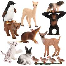 FLORMOON Animal Figures Toy for 3 Year olds - 10 Piece Realistic Plastic Cute Animal Figurines - Science Project, Cake Decoration, Party Supplies Jungle Animals Playset for Kids Toddler